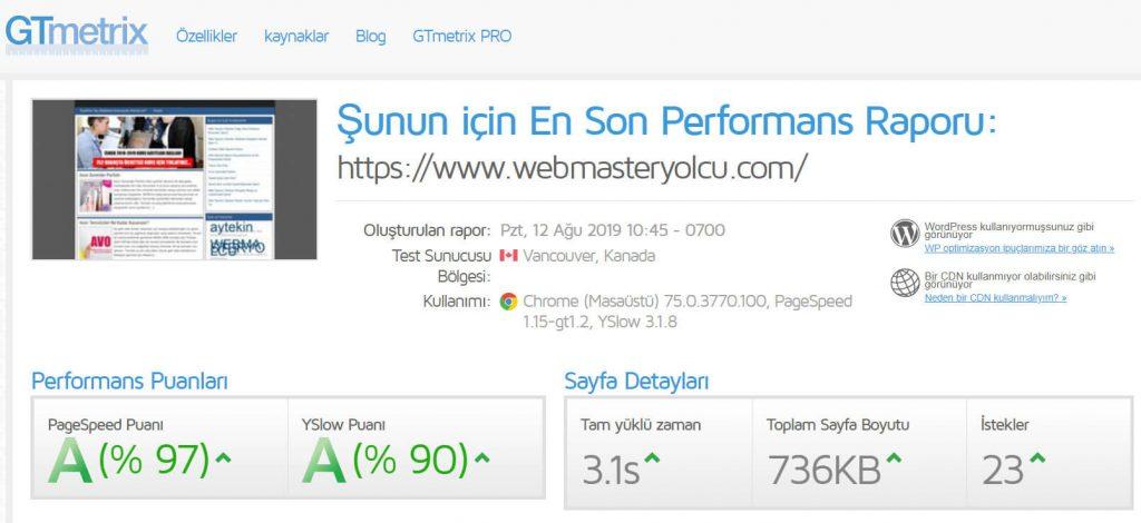 Gtmetrix ile site hızı ölçme