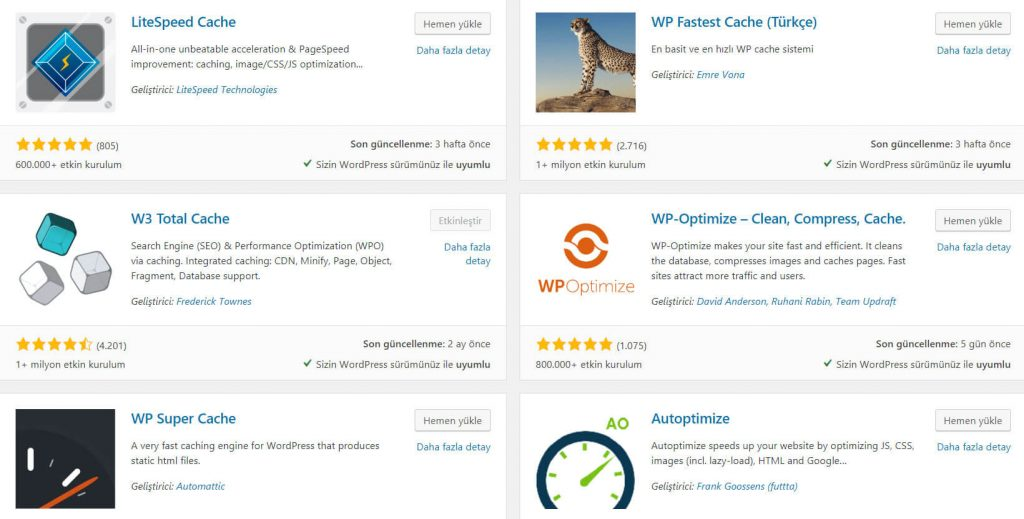 Wordpress İçin Cache Eklentileri